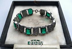 Vintage Charles Horner Art Deco Staybrite Emerald Paste Bracelet Collector Gift
