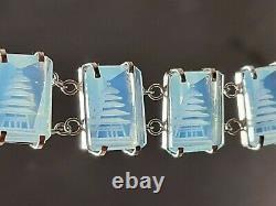 Vintage Japanese Reverse Carve Moonstone Crystal Pagoda S/Silver Bracelet GIFT