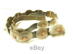 Vintage Navajo Indian Coral And Sterling Silver Concho Belt -btfl Gift