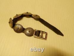 Vintage Navajo Indian Sterling Silver Concho Belt Style Bracelet Xlnt Gift