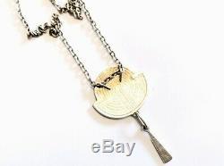 Vintage Pat Cheney Silver & Enamel ART DECO Pendant Necklace GIFT BOXED