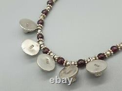 Vintage Retro 925 Sterling silver garnet statement necklace 24g nice gift