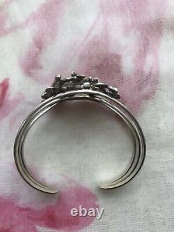 Vintage Sterling Silver Horses 3D Cuff Bracelet Western Navajo Equestrian Gift