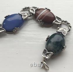 Vintage Sterling Silver Scottish Agate Bracelet Wonderful Quality Gift Idea