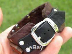 Vintage sterling silver button Bison leather cuff bracelet adjustable nice gift