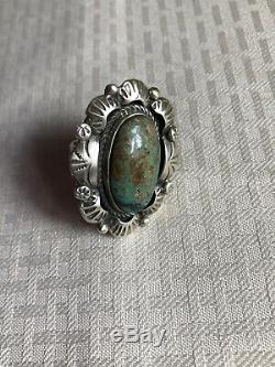 Vtg Dead Pawn GiftNavajo L Mc Sterling Silver Royston Green Turquoise RingSiz6