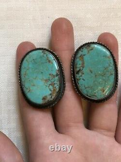 Vtg Dead Pawn Navajo GiftHuge Sterling Silver Royston Green Turquoise Earrings