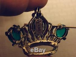 Vtg Gift40s Regal CoroCraft Pegasus Sterling Silver Emerald Ruby BroochFree SH