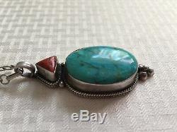 Vtg GiftHuge Dead Pawn Navajo Sterling Silver Green Turquoise Pendant Necklace