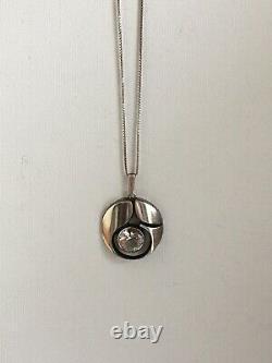 Vtg Modernist Sten & Laine Sterling Silver Rock Crystal Pendant Finland 70s Gift