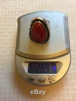 Vtg Old Dead Pawn GiftNavajo N. A. Sterling Silver Red Coral RingSz8Free Ship