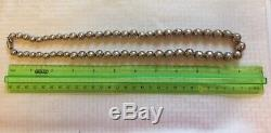 Vtg Old Pawn Unisex Taxco Mexican GiftSterling Silver Bead 22 NecklaceFree SH