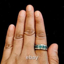White & Blue Diamond Engagement Band Ring Sterling Silver Fine Jewelry Gift