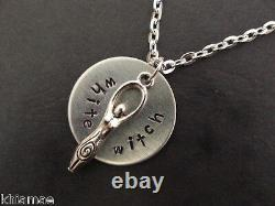 White Witch Goddess hand stamped pendant necklace pagan wiccan gift silver 18