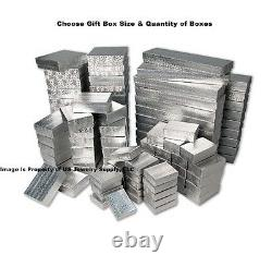Wholesale 200 500 1000 Silver Foil Cotton Filled Jewelry Gift Boxes Choose Size