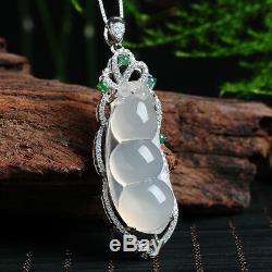 Women Jewelry Necklace Pendant Jade Pea Pod Lucky 925 silver 18K Rose Gold GIFT