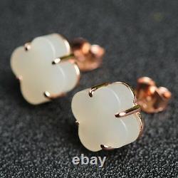 Women jewelry Earrings White Jade Lucky clover 925 Sterling Silver Ear Stud GIFT