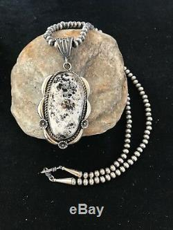 XL Navajo Sterling Silver White Buffalo Turquoise Necklace Pendant Gift 147