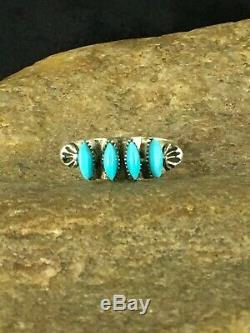Zuni Blue Turquoise Ring Sterling Silver Sz 7 Gift Needle Point 8781